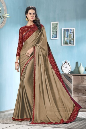 Beige Moss Chiffon Saree with Blouse