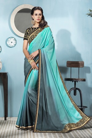 Light Blue&Grey Silk Saree with Blouse
