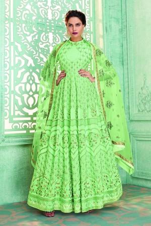 Mint Georgette Semi Stitch Salwar Kameez