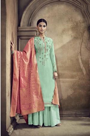 Mint Viscose Cotton Silk Semi Stitch Salwar Kameez