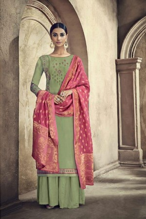 Lighty Mehendi Viscose Cotton Silk Semi Stitch Salwar Kameez
