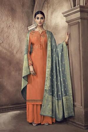 Orange Viscose Cotton Silk Semi Stitch Salwar Kameez