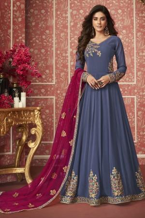 Purple Georgette Semi Stitch Salwar Kameez