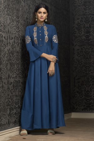 Blue Musline Gown