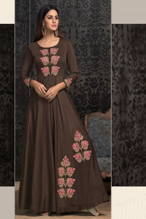 Brown Musline Gown