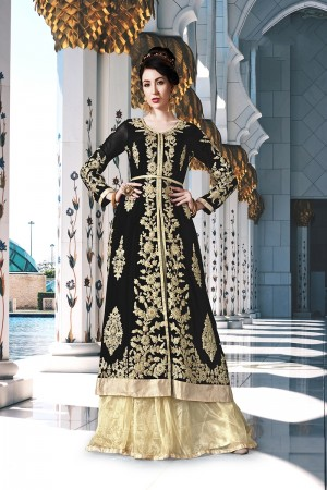 Black Georgette Semi Stitch Salwar Kameez