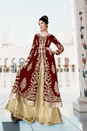 Maroon Georgette Semi Stitch Salwar Kameez
