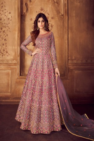shamita shetty Lavender Net Semi Stitch Salwar Kameez