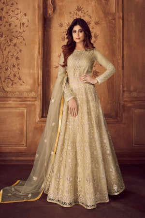 shamita shetty Ivory Net Semi Stitch Salwar Kameez
