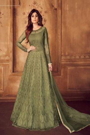 shamita shetty Pine Net Semi Stitch Salwar Kameez