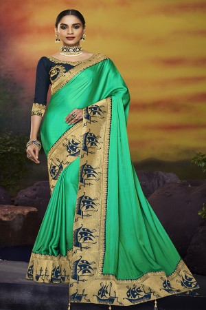 Mint Green Satin Georgette Saree with Blouse