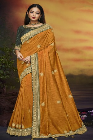 Golden Yellow Satin Georgette Saree with Blouse