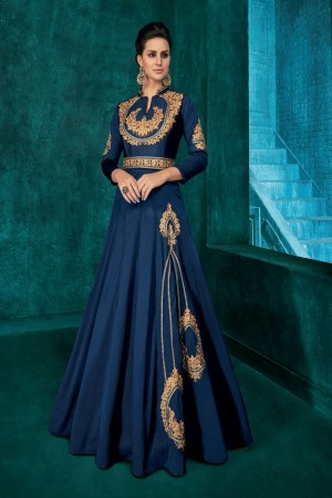Blue Silk Gown