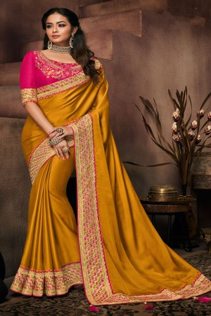 Mustard Satin Georgette Saree with Blouse