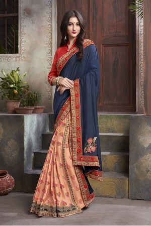 Fenta & Blue Georgette & Silk Saree with Blouse