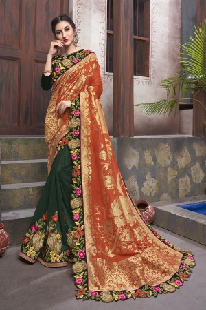 Dark Green&Orange Georgette & Silk Saree with Blouse