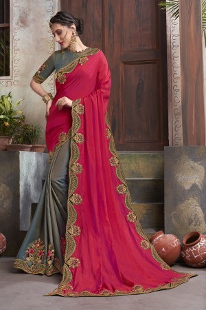 Grey & RaniPink Georgette & Silk Saree with Blouse
