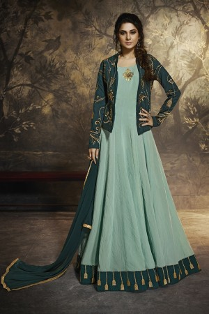 jennifer winget Mint Blue Berry Silk Salwar Kameez