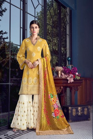 Yellow Silk Semi Stitch Salwar Kameez