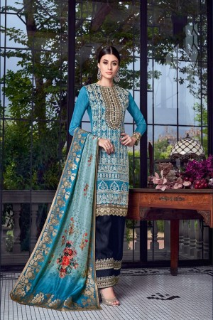 Sky Blue Silk Semi Stitch Salwar Kameez