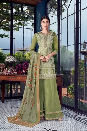 Olive Silk Semi Stitch Salwar Kameez