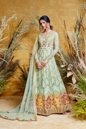 Sky Blue Butterfly Net Anarkali Suit