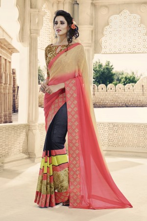 Pink & Blue Georgette Saree with Blouse