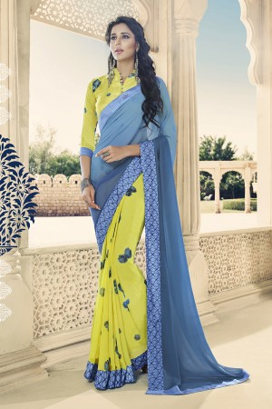 Ocean & Lemon Georgette Saree with Blouse