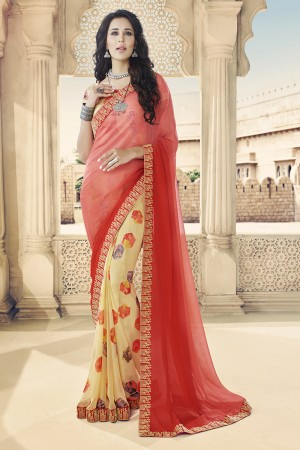 Red & Cream Georgette Saree with Blouse