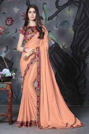 Fenta Georgette & Chiffon Saree with Blouse