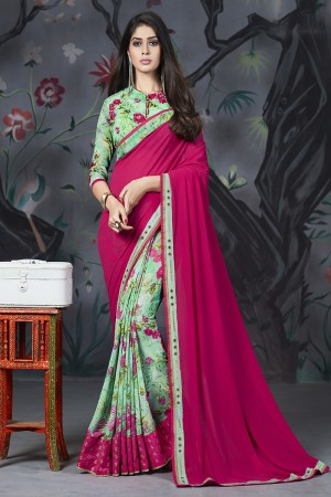 RaniPink & Green Georgette & Chiffon Saree with Blouse