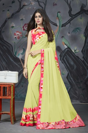 Lime Georgette & Chiffon Saree with Blouse