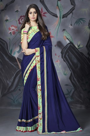 Blue Georgette & Chiffon Saree with Blouse