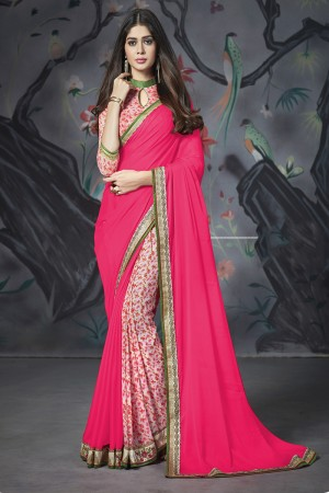 Pink Georgette & Chiffon Saree with Blouse