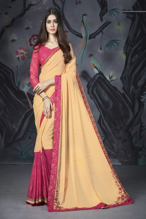 Ivory Georgette & Chiffon Saree with Blouse