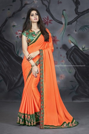 Orange Georgette & Chiffon Saree with Blouse