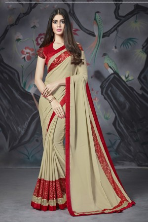 Mehendi Georgette & Chiffon Saree with Blouse