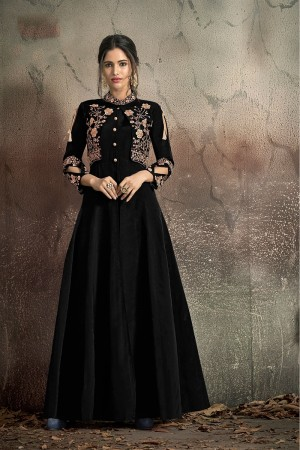 Black Soft Taffeta Silk Anarkali suit