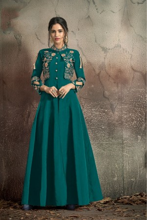 Firozi Soft Taffeta Silk Anarkali suit