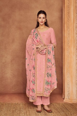 Pink Dola Silk Jacquard Salwar Kameez