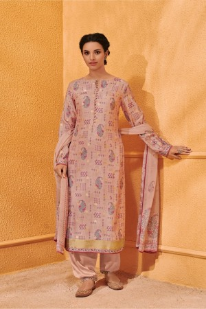 Peach Dola Silk Jacquard Butti Patiyala Suit