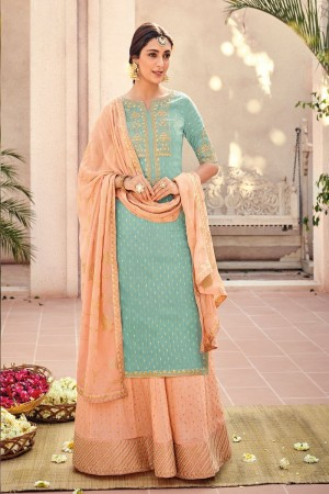 Mint Silk Banarasi Butti Plazo Suit