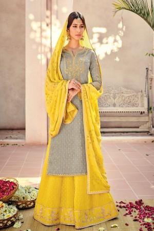 Grey Silk Banarasi Butti Plazo Suit