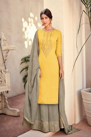 Yellow Silk Banarasi Butti Plazo Suit