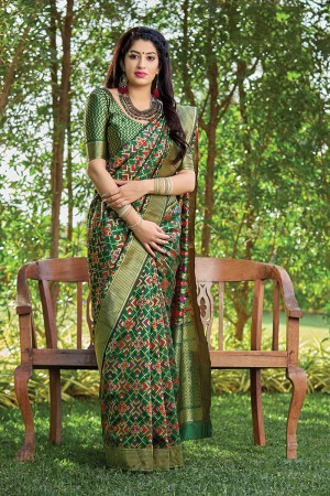 Dark Green Banarasi Silk Saree with Blouse