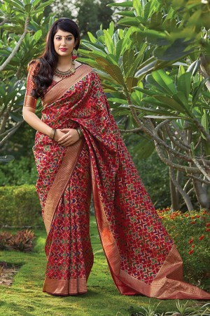 Maroon Banarasi Silk Saree with Blouse