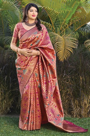 Brick Banarasi Silk Saree with Blouse