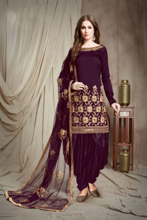 Wine Tafetta Silk Patiyala Suit