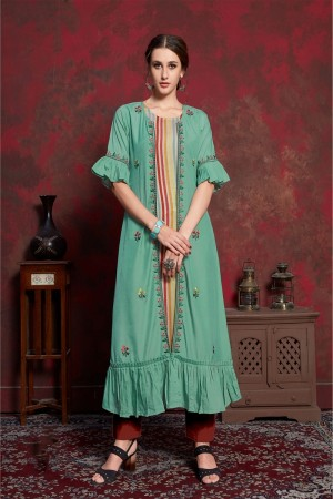 Pista Pure muslin & Mulayam fancy Fabric Kurti with Shrug
