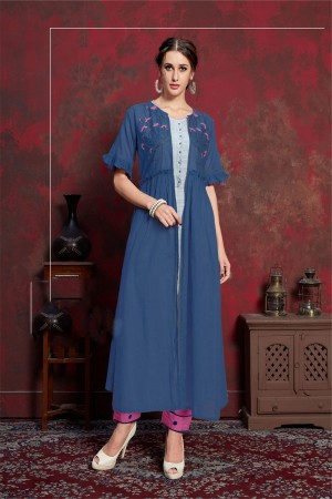 Blue & Grey Pure muslin & Mulayam fancy Fabric Kurti with Shrug